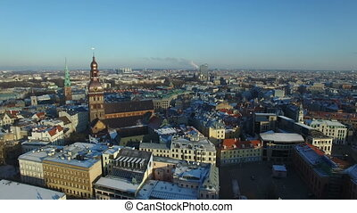 Aerial view over the Old Riga City - Aerial view over the...