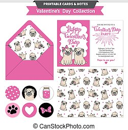 Valentines day printable set wih funny pugs. - Valentines...
