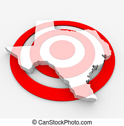Target Texas - Marketing Concept - A red bulls-eye with a...