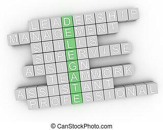 3d image Delegate word cloud concept