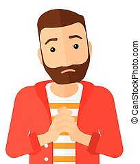 Regretful man with clasped hands. - Regretful hipster man...