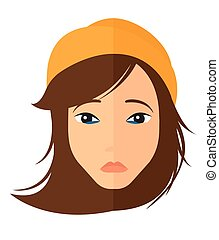 Young depressed woman - Young depressed woman vector flat...