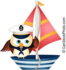 Sailor owl in a boat