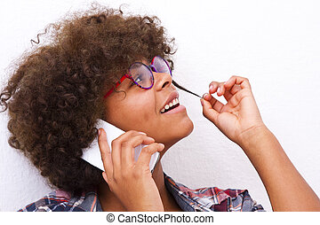 african american young girl on the phone