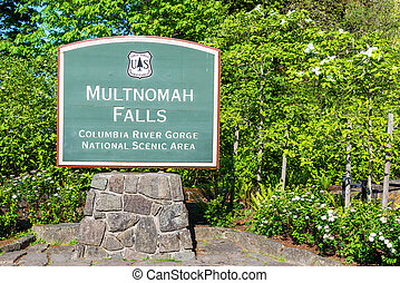 Multnomah Falls Sign - Sign to the entrance of Multnomah...