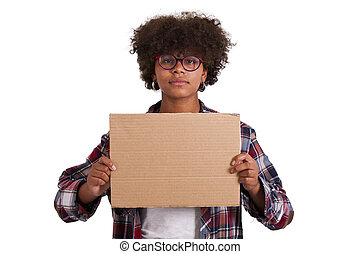 young girl isolated on white cardboard