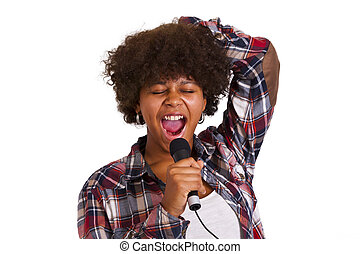girl singing isolated on white background
