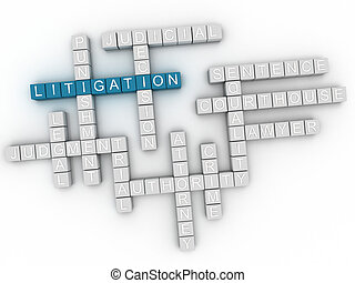 3d image Litigation word cloud concept