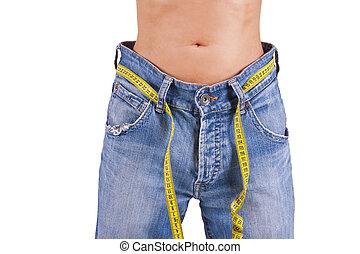 slim woman in big pants, slimming