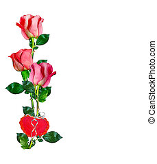 Heart of flowers rose isolated on white background holiday...