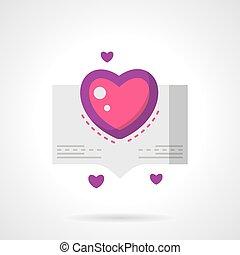 Love confession bright flat vector icon - Bubble speech or...