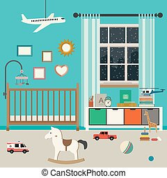 Baby room interior. - Baby room interior with furniture and...