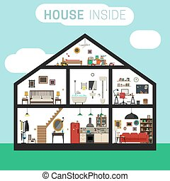 House inside interior. - House in cut with furniture. Vector...