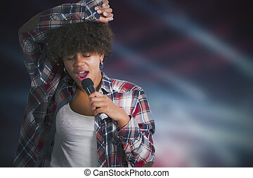 Girl singing with backlights