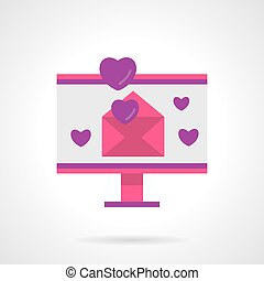Digital love bright flat vector icon - Computer monitor with...