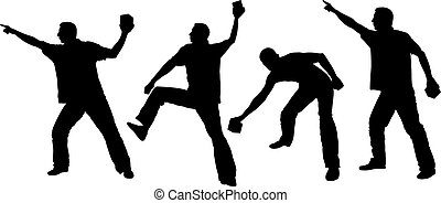 hooligans - silhouette of man throwing objects