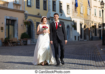 Beautiful wedding couple - Bride and groom Portrait of a...