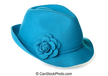 Teal felt hat - a teal blue felt hat with a flower on it.