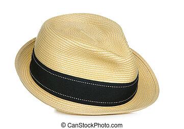 Straw Fedora - A tan straw fedora hat with a black stripe.