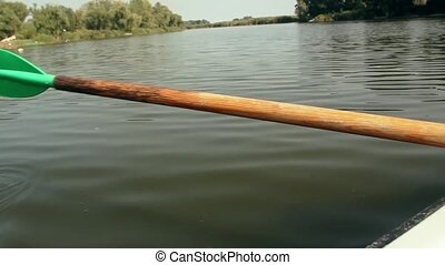 Rowing oar in the water
