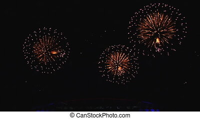 A beautiful pyro show fireworks in night sky. Strong...
