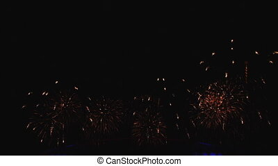 A beautiful pyro show fireworks in night sky Strong...