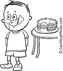 gourmand boy coloring book - Black and White Cartoon...