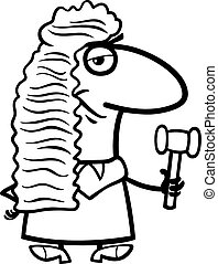 judge cartoon coloring book - Black and White Cartoon...