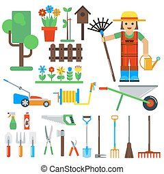 Gardening tools vector icons isolated on white background...