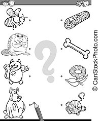 match elements coloring book - Black and White Cartoon...