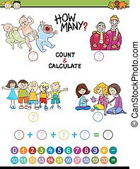 mathematical game for preschoolers - Cartoon Illustration of...