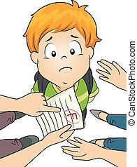 Kid Boy Grade Parents Fail - Illustration of a Little Boy...