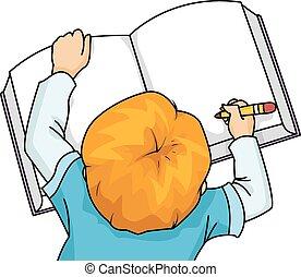 Kid Boy Writing Large Book