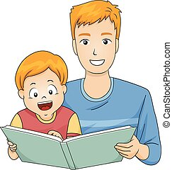 Kid Boy Father Read Story Book - Illustration of a Father...