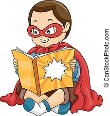 Kid Boy Hero Reading Comic Book
