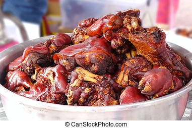 Stewed Pigs Trotters - Pigs trotters cooked in rice wine and...