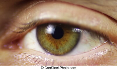 Human Eye - Close-up of man's eyes that blink, crazy looks...