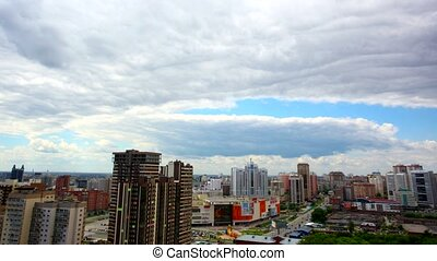 Timelapse of bird view over city of Novosibirsk, Russia