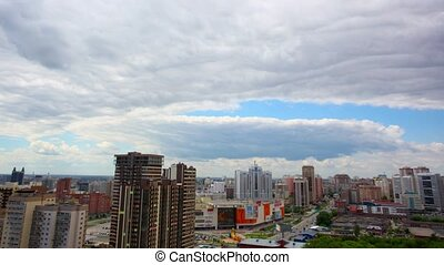 Timelapse of bird view over city of Novosibirsk, Russia...