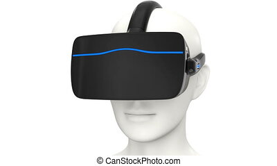 3D animation of VR headset Smartphone insert into black head...