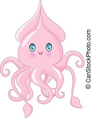 Cute Squid - Cartoon illustration of very cute squid