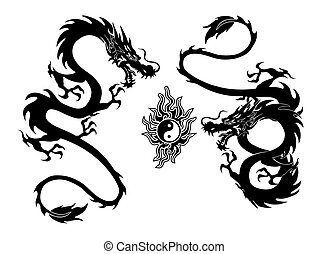 dragon and yinyang tattoo - illustration of a two dragon and...