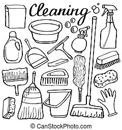 Cleaning tools set. Hand-drawn cartoon collection of house cleaning stuff. Doodle drawing.