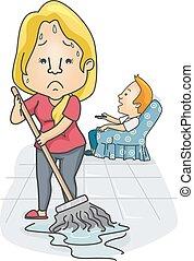 pareja, problemas, niña, piso, trapeador,