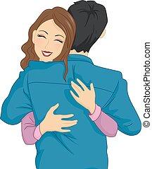 Couple Hug Happy - Illustration of a Woman Happily Hugging...