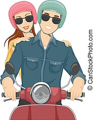 Couple Motorcycle Ride Helmets - Illustration of a Couple...