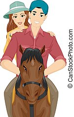 Couple Date Horseback Riding - Illustration of a Couple...