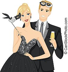 Couple Masquerade Ball Mask - Illustration of a Couple at a...