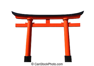Japanese Torii Gate - An orange and black Japanese Torii...