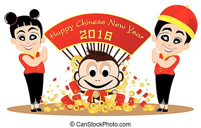 Chinese New Year of Monkey and teens  isolated on white background.